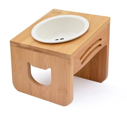 優米卡斜口木頭碗架+陶瓷碗