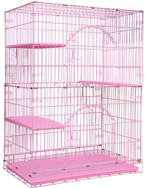 寶麟特製烤漆貓籠 (雙層) 粉紅色