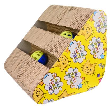 優米卡紙抓板(側邊三角帶球)